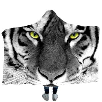 White Tiger Face Hooded Blanket - 3 sizes - My Diva Baby