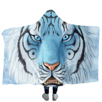 Ice Blue White Tiger Hooded Blanket - 2 sizes