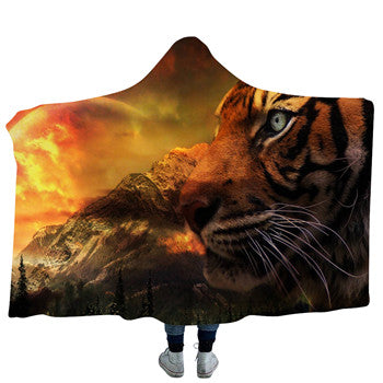 Tigers Gaze Hooded Blanket - 2 sizes - My Diva Baby