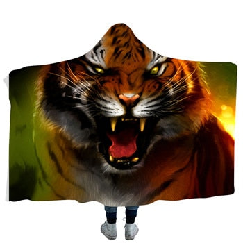 Angry Tiger Hooded Blanket - 2 sizes