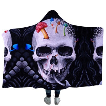Mushroom Skull Hooded Blanket - 2 sizes