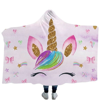 Unicorn Bows Hooded Blanket - 2 sizes