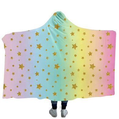 Unicorn Stripes & Stars Hooded Blanket - 2 sizes