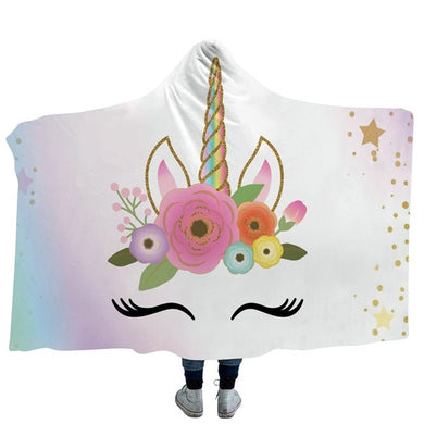 Unicorn Happy Lashes Hooded Blanket - 2 sizes