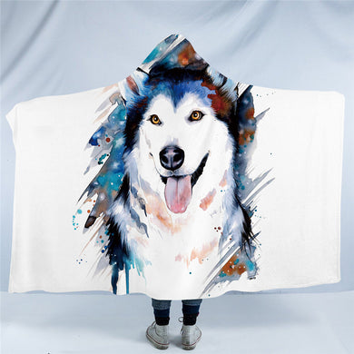 Husky by Pixie Cold Art - Hooded Blanket - 2 sizes