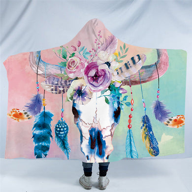 Pastel Bull Skull Hooded Blanket - 2 sizes