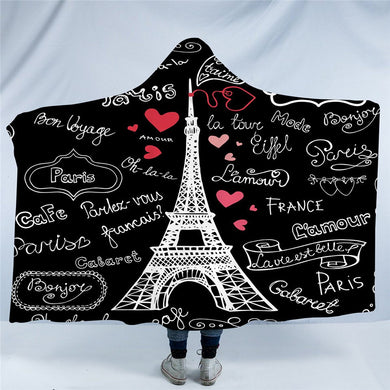 Paris Tower Hooded Blanket - 2 sizes