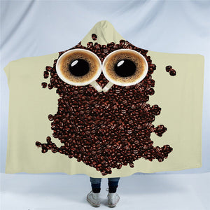 Coffee Owl 3D Hooded Blanket - 2 sizes