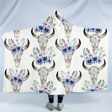 Tribal Bull Skull Hooded Blanket - 2 sizes - My Diva Baby