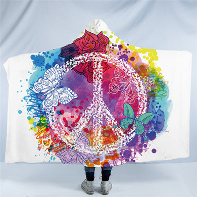 Watercolour Peace & Butterflies Hooded Blanket - 2 sizes