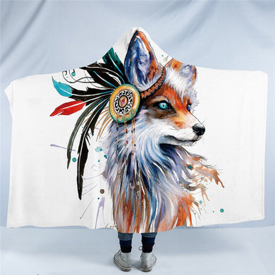 Fox by Pixie Cold Art - Hooded Blanket - 2 sizes