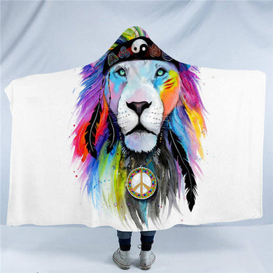 Hippy Lion by Pixie Cold Art Hooded Blanket - 2 sizes