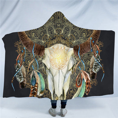 Mandala Bull Skull Dreamcatcher - Black - Hooded Blanket - 2 sizes