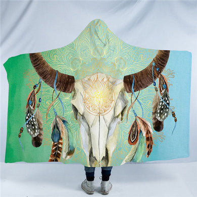 Mandala Bull Skull Dreamcatcher - Green - Hooded Blanket - 2 sizes - My Diva Baby