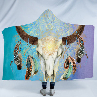 Mandala Bull Skull Dreamcatcher - Blue - Hooded Blanket - 2 sizes