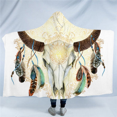 Mandala Bull Skull Dreamcatcher - White - Hooded Blanket - 2 sizes