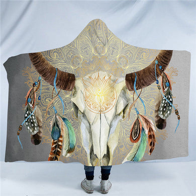 Mandala Bull Skull Dreamcatcher - Grey - Hooded Blanket - 2 sizes - My Diva Baby