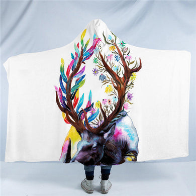 King of the Forest by Pixie Cold Art Hooded Blanket - 2 sizes