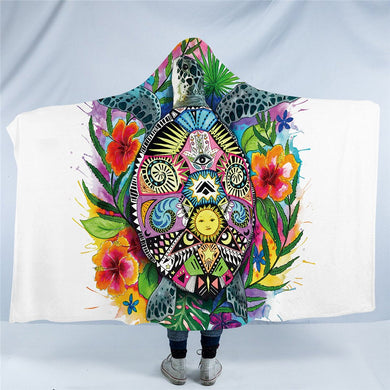 Turtle Life by Pixie Cold Art - Hooded Blanket - 2 sizes