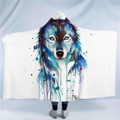 Ice Wolf by Pixie Cold Art Hooded Blanket - 2 sizes