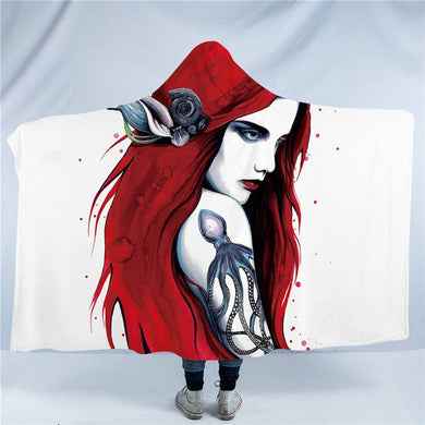 In My Mind by Pixie Cold Art - City Ariel - Hooded Blanket - 2 sizes