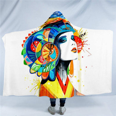 Aztec by Pixie Cold Art Hooded Blanket - 2 sizes