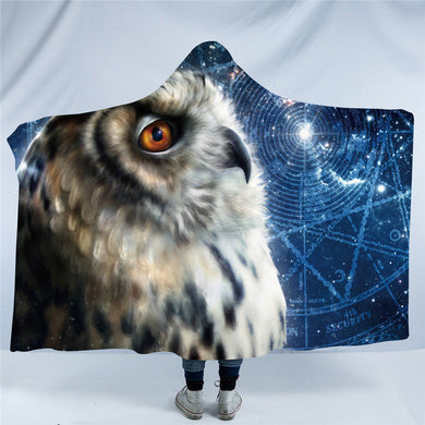 Time Traveller Owl by Khalia Art - Hooded Blanket - 2 sizes
