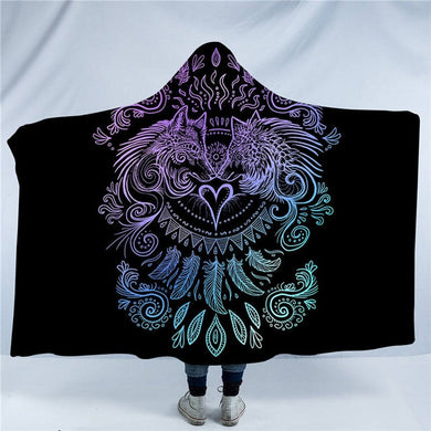 Wolves Heart by SunimaArt - Black - Wolves and Feathers Hooded Blanket - 2 sizes - My Diva Baby