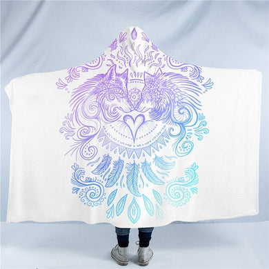 Wolves Heart by SunimaArt - White - Wolves & Feathers Hooded Blanket - 2 sizes - My Diva Baby