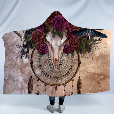 Mystery Skull Dreamcatcher by Sunima MysteryArt - Hooded Blanket - 2 sizes