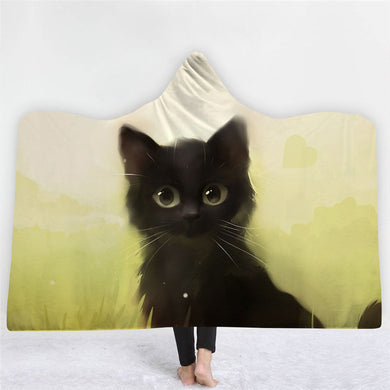 Black Kitty Hooded Blanket - 3 sizes