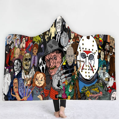 Horror Caricatures Hooded Blanket - 2 sizes
