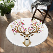 Floral Elk - White - Mat Round - 3 sizes