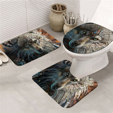 Wolf Warrior by SunimaArt - Bath Mat Set 3pcs Non-slip