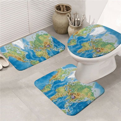 World Map Bath Mat Set 3pcs Non-slip