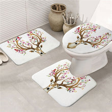 Floral Elk - White - Bath Mat Set 3pcs Non-slip