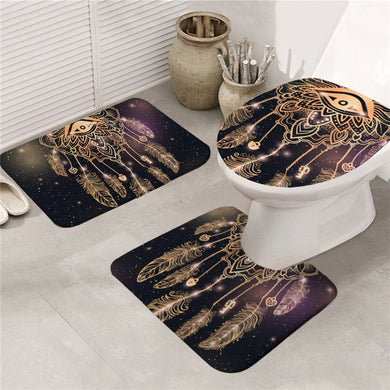 Golden Eye Dreamcatcher Bath Mat Set 3pcs Non-slip
