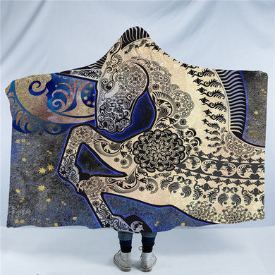 Blue Mandala Unicorn Hooded Blanket - 2 sizes