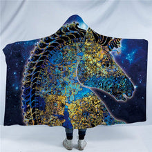 Blue & Yellow Mandala Unicorn Hooded Blanket - 2 sizes