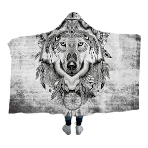 Grey Tribal Wolf Hooded Blanket - 2 sizes - My Diva Baby