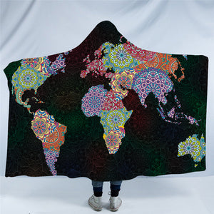 Mandala World Map Hooded Blanket - 2 sizes