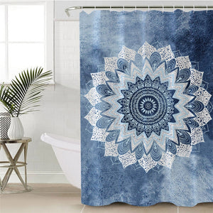 Blue Watercolour Mandala Shower Curtain - Waterproof