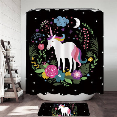 Floral Wreath Unicorn Shower Curtain & Mat Set