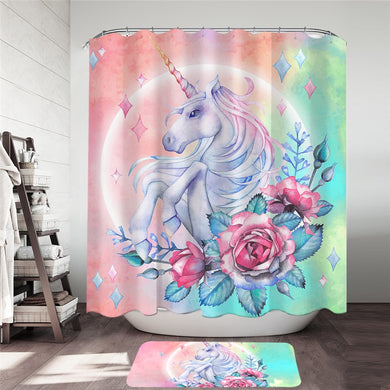 Unicorn & Roses Shower Curtain & Mat Set