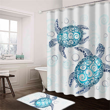 Blue Turtles With Bubbles Shower Curtain & Mat Set