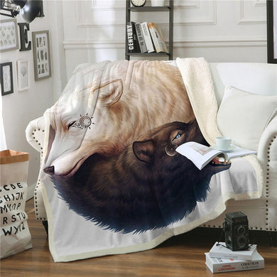 Yin and Yang Wolves by JoJoesArt - White - Sherpa Throw Blanket - 4 sizes