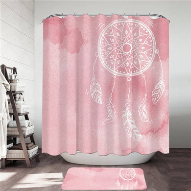 Pink Watercolour Dreamcatcher Shower Curtain & Mat Set