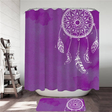 Purple Watercolour Dreamcatcher Shower Curtain & Mat Set