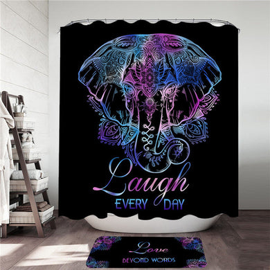Lotus Elephant - With Words - Shower Curtain & Mat Set