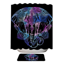 Lotus Elephant Shower Curtain & Mat Set